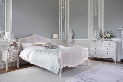 Bordeaux Antique White French Style Shabby Chic Mindy Wood & Rattan Bed