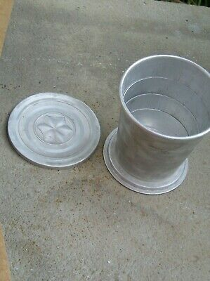 Vintage, Aluminum Collapsing Folding Drinking Cup, Star On Lid