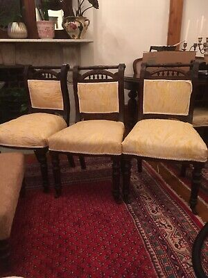 3 Antique Mahogany Dining Chairs Castors Carved Vintage