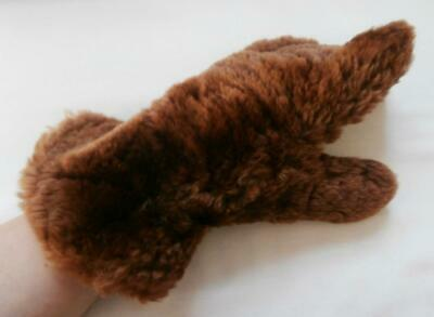 Vintage 1950's Brown Beaver Lamb Fur & Leather Winter Gloves Size 7, Medium