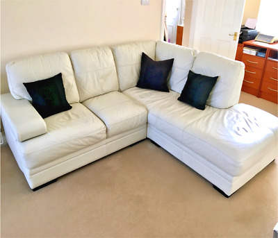Superb Italian Cream Leather Corner Sofa With Matching Chair Gmtry Best Dining Table And Chair Ideas Images Gmtryco