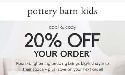 Pottery Barn Kids 1coupon 20% off entire order Furniture Savings Discount Code