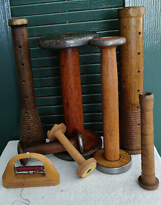 Antique Wooden Textile  Bobbins - Spools Asst.  Lot of 8