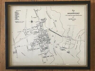 Antique BRIDGEPORT, CONNECTICUT Surveyors delineated Map, H.T. Barnum 1824