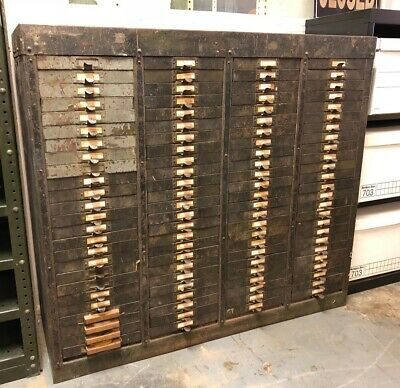 Vintage Industrial Heavy 100 Drawer Metal Parts/Nut & Bolt Storage Cabinet