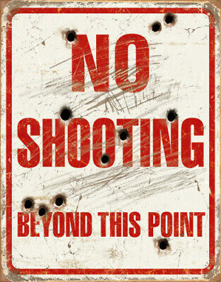 Tin Signs TSN1939 No Shooting Beyond This Point Nostalgic Embossed Tin Signs. Re