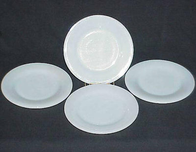 FOUR (4) FIRE KING WHITE W315 HEAVY RESTAURANT WARE BREAD BUTTER PLATES c.1940