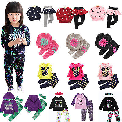 Kids Girls 2Pcs Tracksuits Long Sleeve Pullover Sweatshirts Tops Pants Outfits
