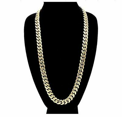 """Hip Hop 14K Gold finish Miami Cuban Link Chain Necklace Heavy 14mm 30"""" inch USA"""