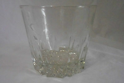 Large Heavy Crystal Ice Bucket with Etched Pressed Glass or Huge Shot Glass
