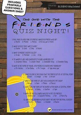 FRIENDS TV Show Trivia Game - Friends Quiz Night Printable - Up To 50 Questions!
