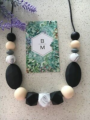 SALE Silicone Necklace for Mum Jewellery Beads Aus Gift Black (was Teething)