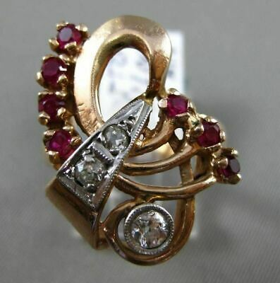 Antique 1.20Ct Diamond & Ruby 14Kt Rose Gold Filigree Handcrafted Cocktail Ring