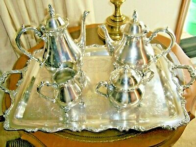 Antique Webster Wilcox American Rose Coffee Tea Complete Silver Plate Set Beauty