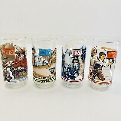 4 Vintage 1983 Star Wars Return of the Jedi Drinking Glasses Tumbler Burger King