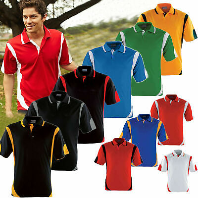 22 Color Mens Polo Shirt 100% Polyester Cool Dry Breathable Contrast Sports Polo