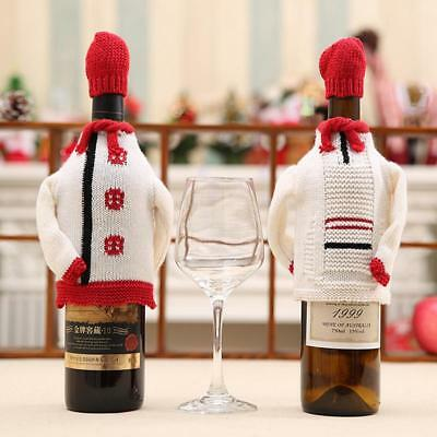 Christmas Wine Bottle Cover Knitted Sweater Cap Xmas Party Dinner Decoration JJ