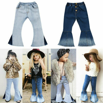 US Stock Toddler Kids Baby Girl Bell-Bottoms Pants Denim Wide Leg Jeans Trousers