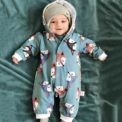 Newborn Toddler Baby Girls Cartoon Print Autumn Hoodie Cotton Romper Jumpsuit