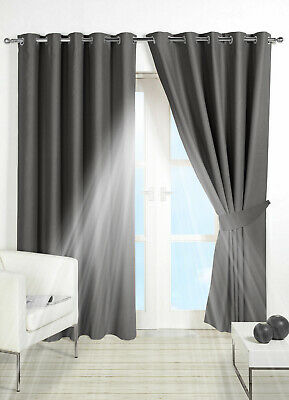 Thermal Blackout Pair Curtains Eyelet Ring Top Or Pencil Pleat Free 2 Tie backs