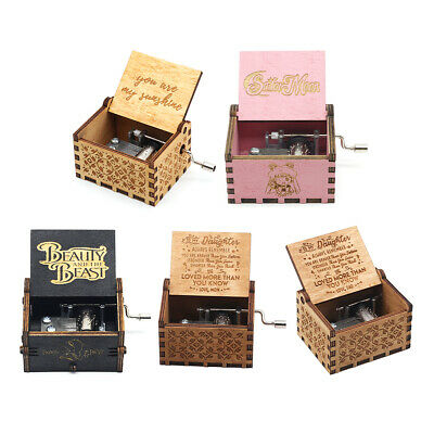 Retro Wooden Music Box Antique Hand Crank Engraved Toys Kids Birthday Gift Xmas