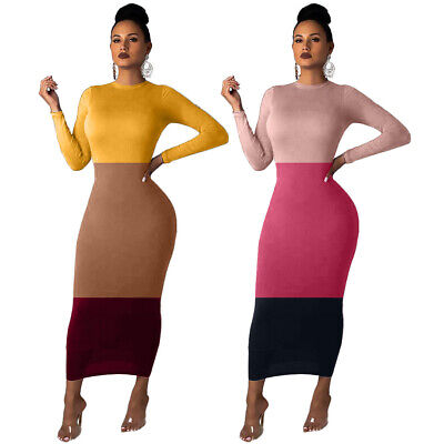 Elegant Women Round Neck Long Sleeve Three Colors Patchwork Casual Bodycon Dress