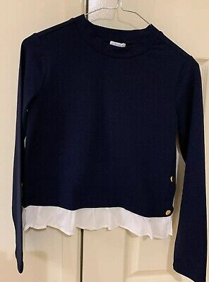 Witchery Girl Stretch Long Sleeves Top, Size 12, Navy With White Trim