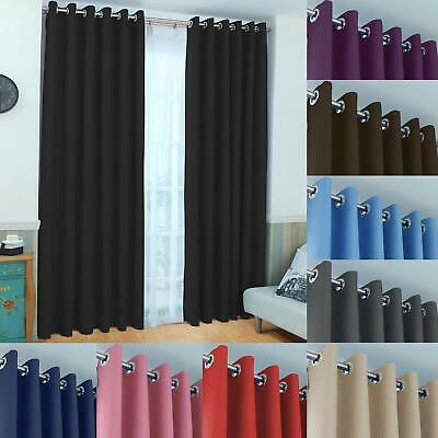 Super Soft Thermal Insulated Eyelet Energy Saving Blackout Curtains Ready Made
