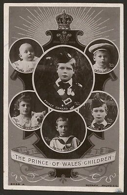 British Royalty. The Prince of Wales' Children - Vintage Rotary R Photo Postcard