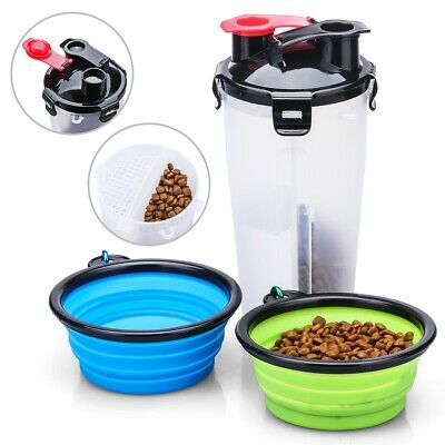 Pet Water Bottle and Food Container 2 in 1 Dog Water Dispenser LEAK-PROOF LID