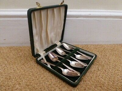 Set of Small Spoons EPNS Silver Plated Antique Leather Hard Case Tea Coffee