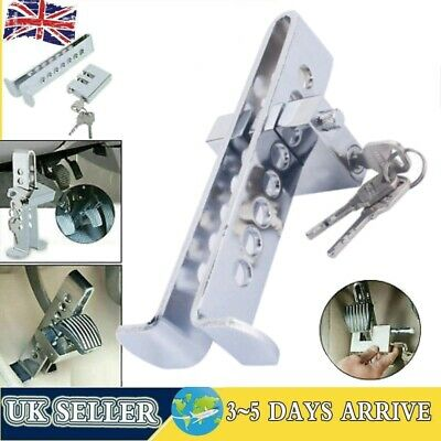 Stainless Steel Anti-theft Device Clutch Pedal Lock Car Brake Security Tool 3Key