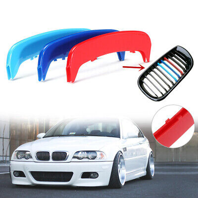 M Kidney Grille Grill Stripe Clip Decal Cover Trim 3 Color For BMW E46 2002-2004