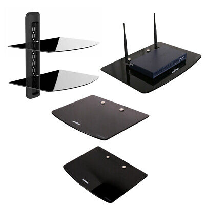 Floating Strengthened Glass Shelf for DVD Players/Cable Boxes/Games Consoles