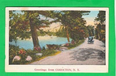 Postcard ~ Greetings from: Cohocton NY antique automobile stream ~ Vintage 8182