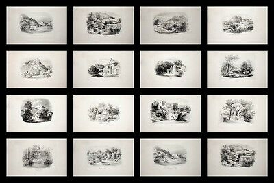 1840 Sintra Portugal Lissabon Collection of 14 Plates