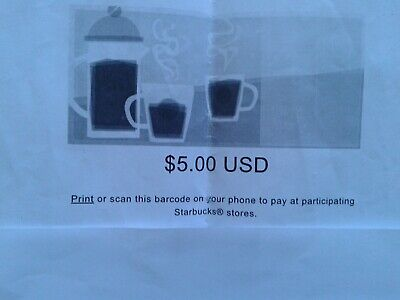 $5 Starbucks Coupon and Gift Card to Starbucks Account