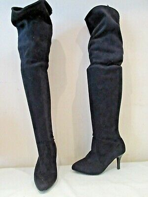 Next Black Stretch Over Knee Pull On Boots Uk 4 Eu 37 (3243)