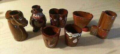7 Vintage Novelty Shot Glasses Bar Terra Cottage Jiggers Japan!