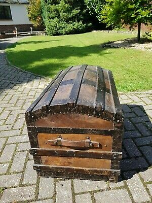 Large Antique Victorian Dome Top Steamer Travel Trunk 19th Century Travel Chest