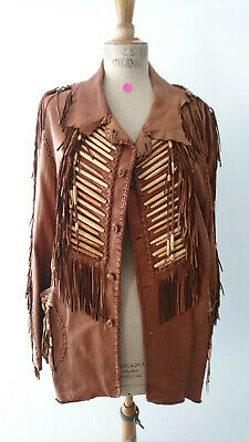 "Veste indienne exceptionnelle ""MAHOPA"" / USA - Artisanat 1970 - T.52 (Neuf)"