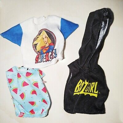 Barbie Fashion Pack Doll Clothes : Supergirl Top, Batgirl Hoodie, Watermelon Top