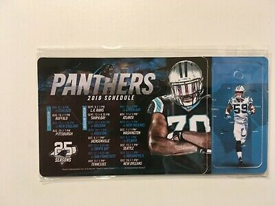"""NFL 2019 CAROLINA PANTHERS MAGNET SCHEDULE (3 3/4 """"x 2 3/4"""") + KEY CHAIN - NEW"""