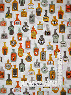 Halloween Potion Poison Bottle White Cotton Fabric QT Boos Ghouls By The Yard