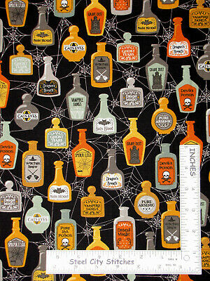 Halloween Potion Poison Bottle Black Cotton Fabric QT Boos Ghouls By The Yard