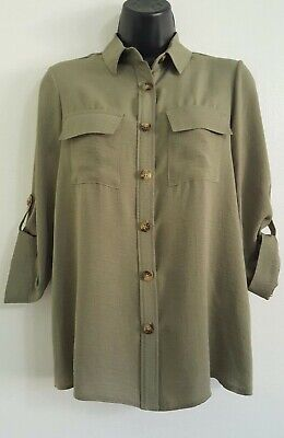 NEW ex DP Khaki Green Button Up Collared Casual Loose Fit Blouse Shirt Top 8-16