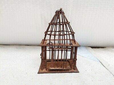 19c Antique Old Primitive Unique Handmade Miniature Iron Bird Cage Collectables