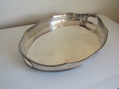 Antique Silver Plate On Copper Tray Ornate Sides Bun Feet Made In England