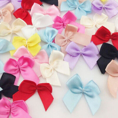 30pcs Color Mini Satin Ribbon Flowers Bows Gift Craft Wedding Party Supplies PF