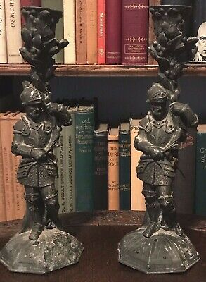 ANTIQUE VICTORIAN CAST IRON CANDLESTICKS OF TWO KNIGHTS - Late 19th Century